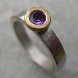 Amethyst engagement band