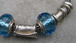 silver and blue glass bead detail