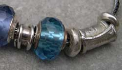 blue glass and silver bead detail
