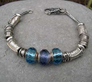 blue glass and silver beaded bracelet
