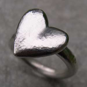 Large heart on a silver ring