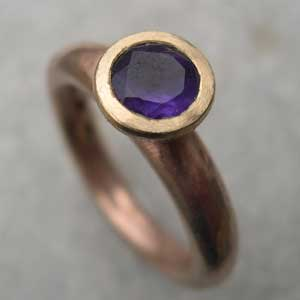 Red gold engagement ring with Amethyst set in yellow gold