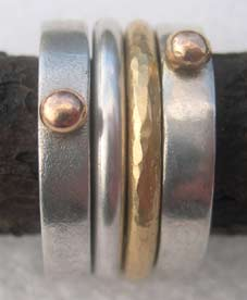 designer silver and gold rings