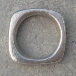 square silver ring hammered